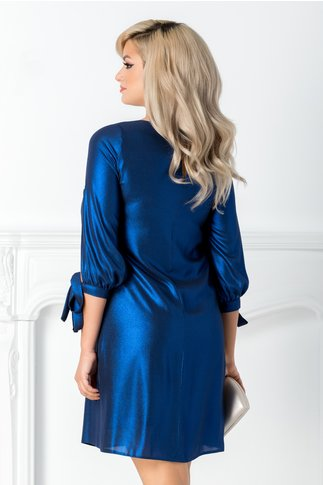 Rochie Moze albastru metalizat
