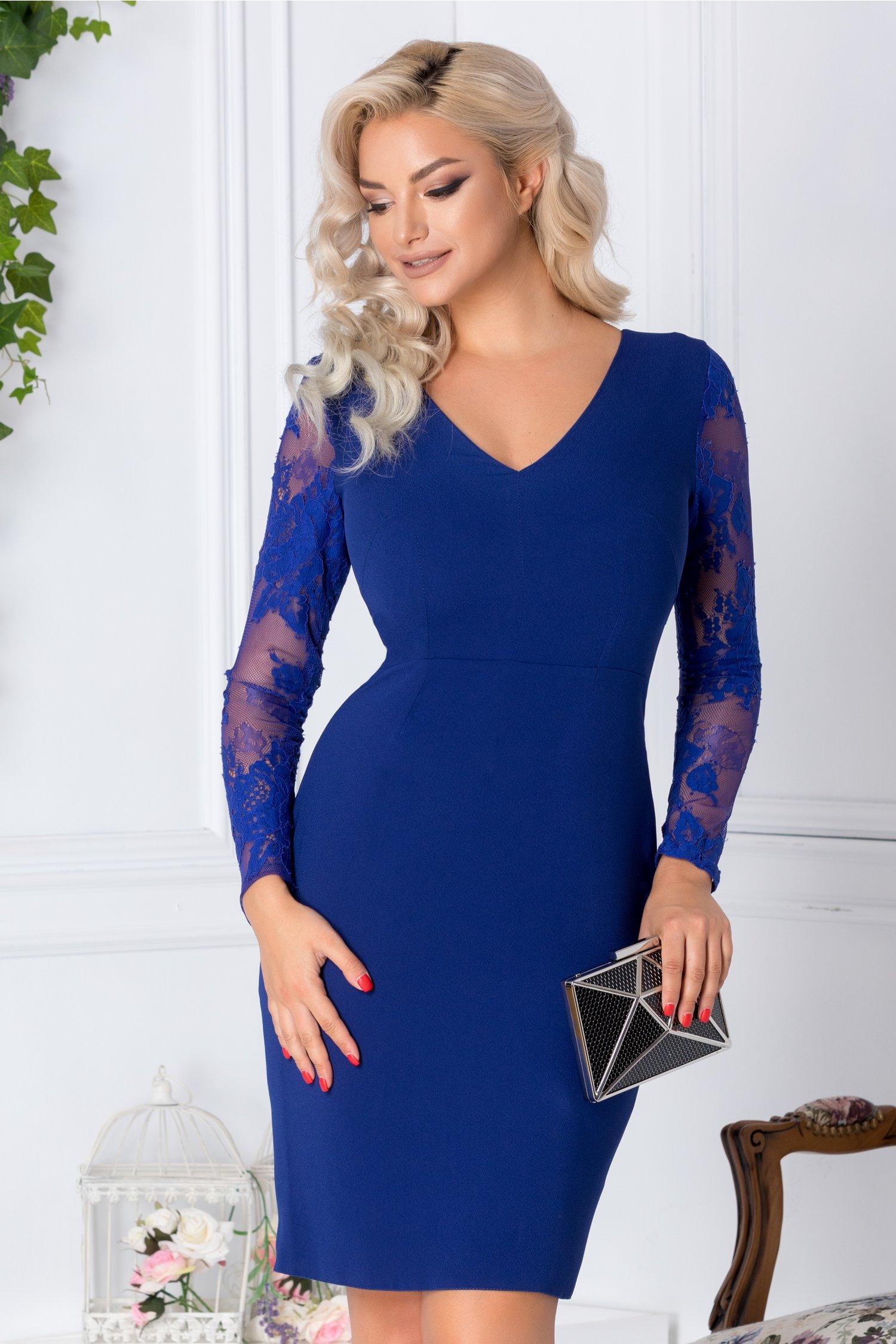 Rochie Moze albastru royal cu maneci din dantela