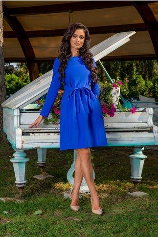 Rochie Moze albastru royal office cu cret si cordon in talie