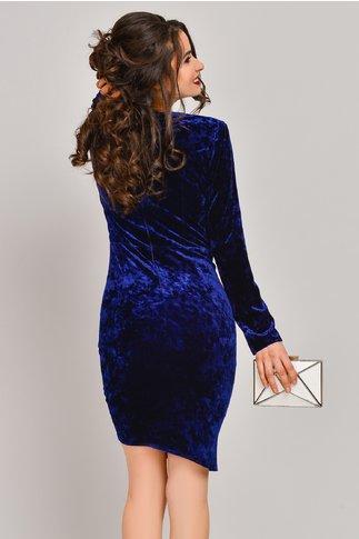 Rochie Moze Alda albastra din catifea petrecuta