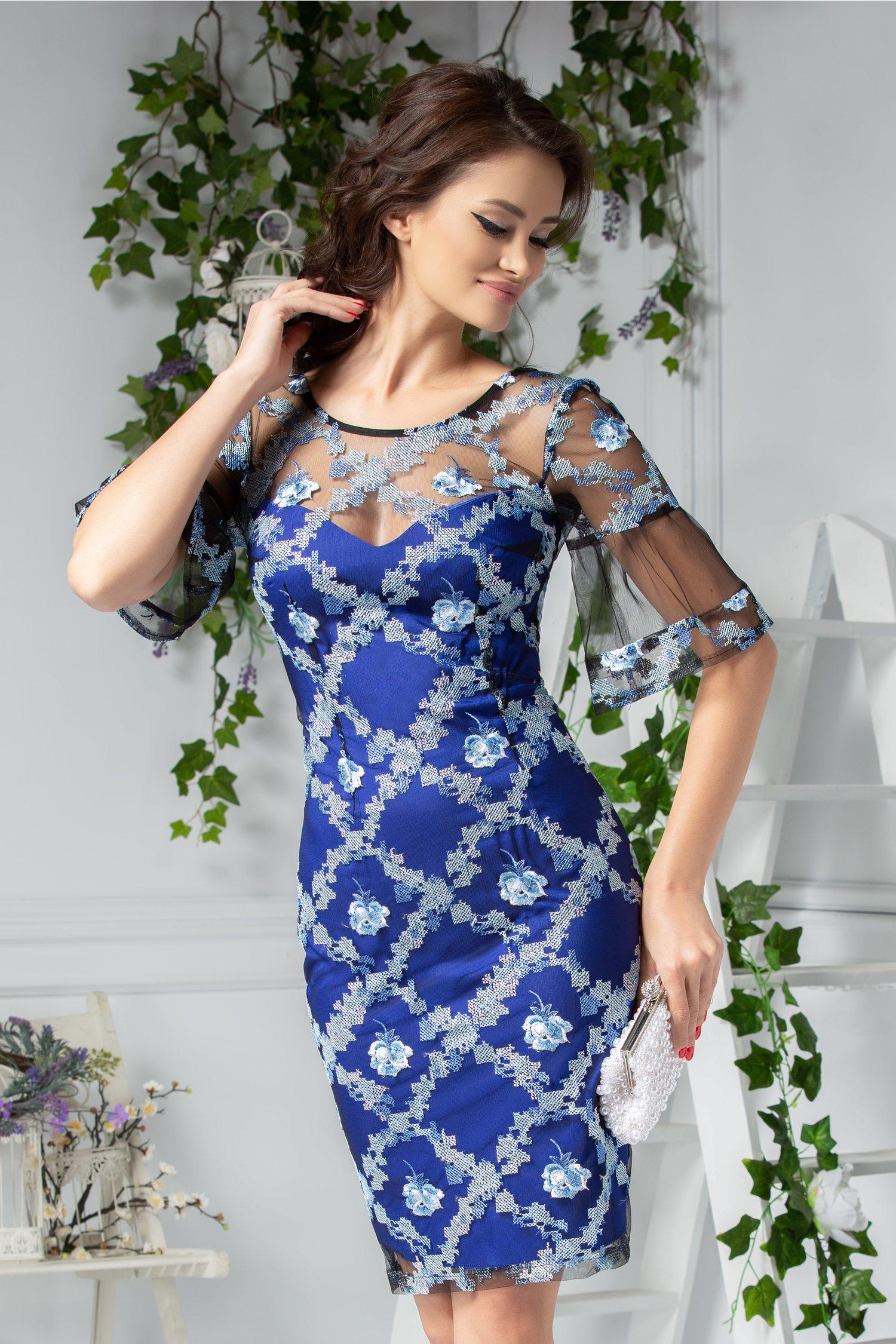 Rochie Moze Alys albastru cu dantela brodata