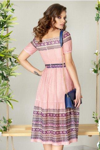 Rochie Moze Amira roz fara umeri cu imprimeu mov