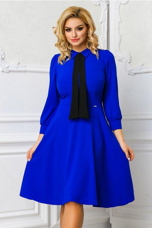 Rochie Moze Anica albastra evazata office cu guler