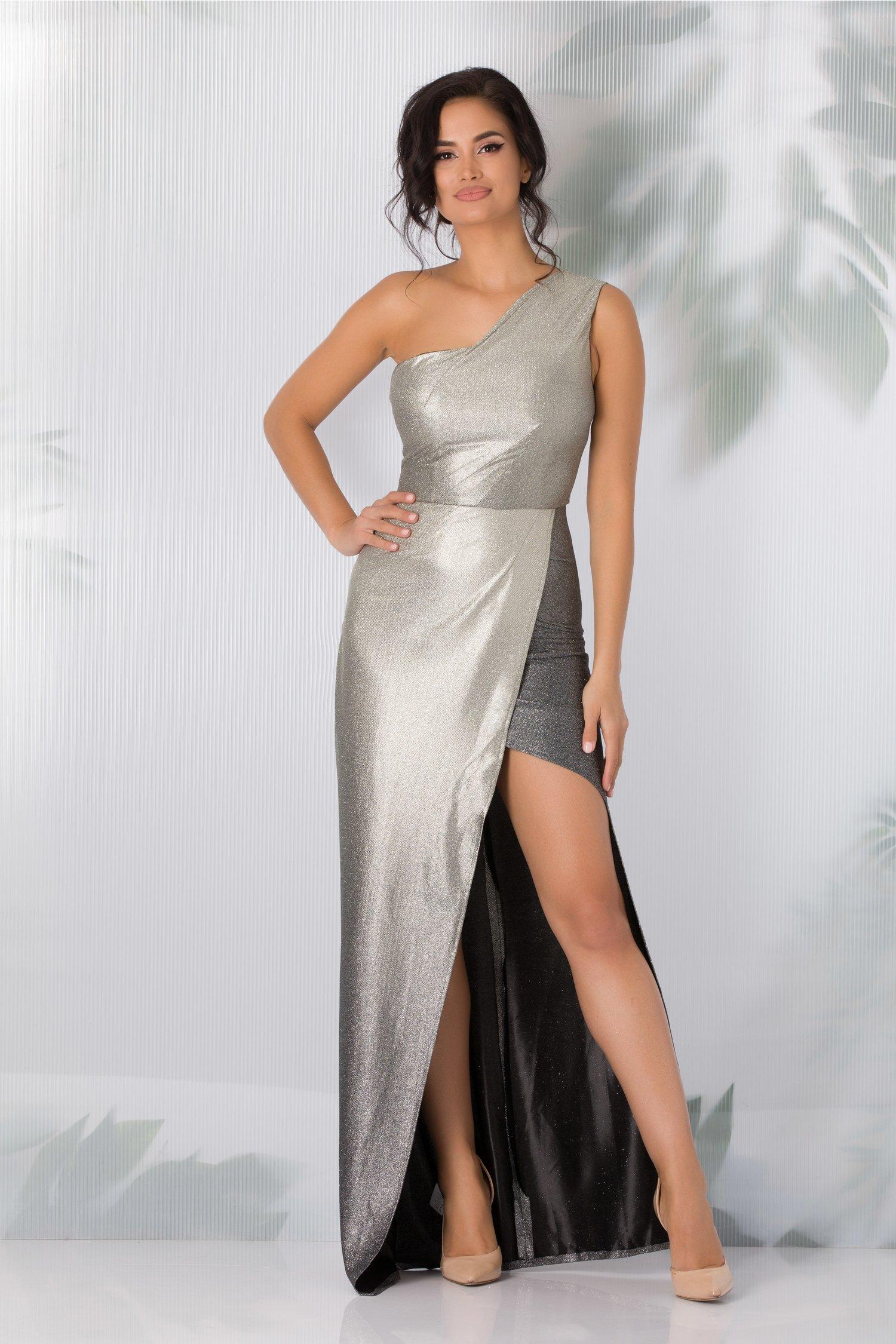 rochie moze argintie cu sclipici si crepeu maxi in fata 390136 4