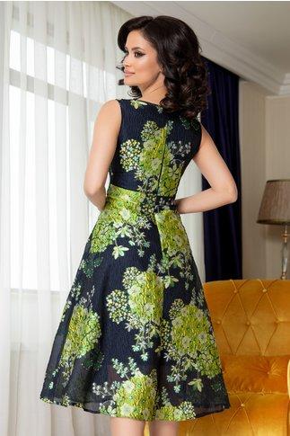 Rochie Moze bleumarin cu flori verzi si lurex