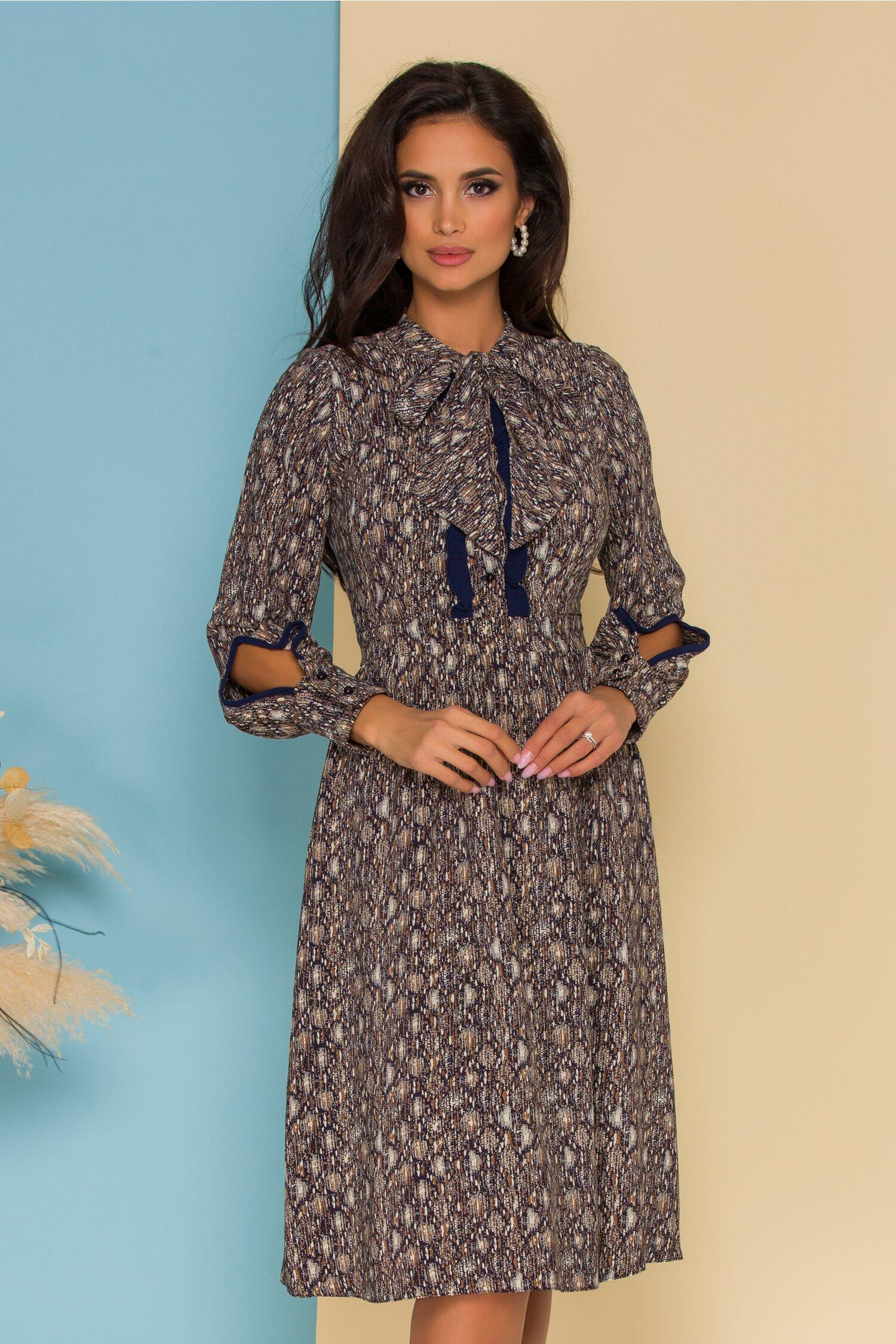 Rochie Moze bleumarin cu imprimeuri maro