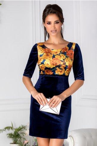 Rochie Moze bleumarin din catifea cu trandafiri galbeni