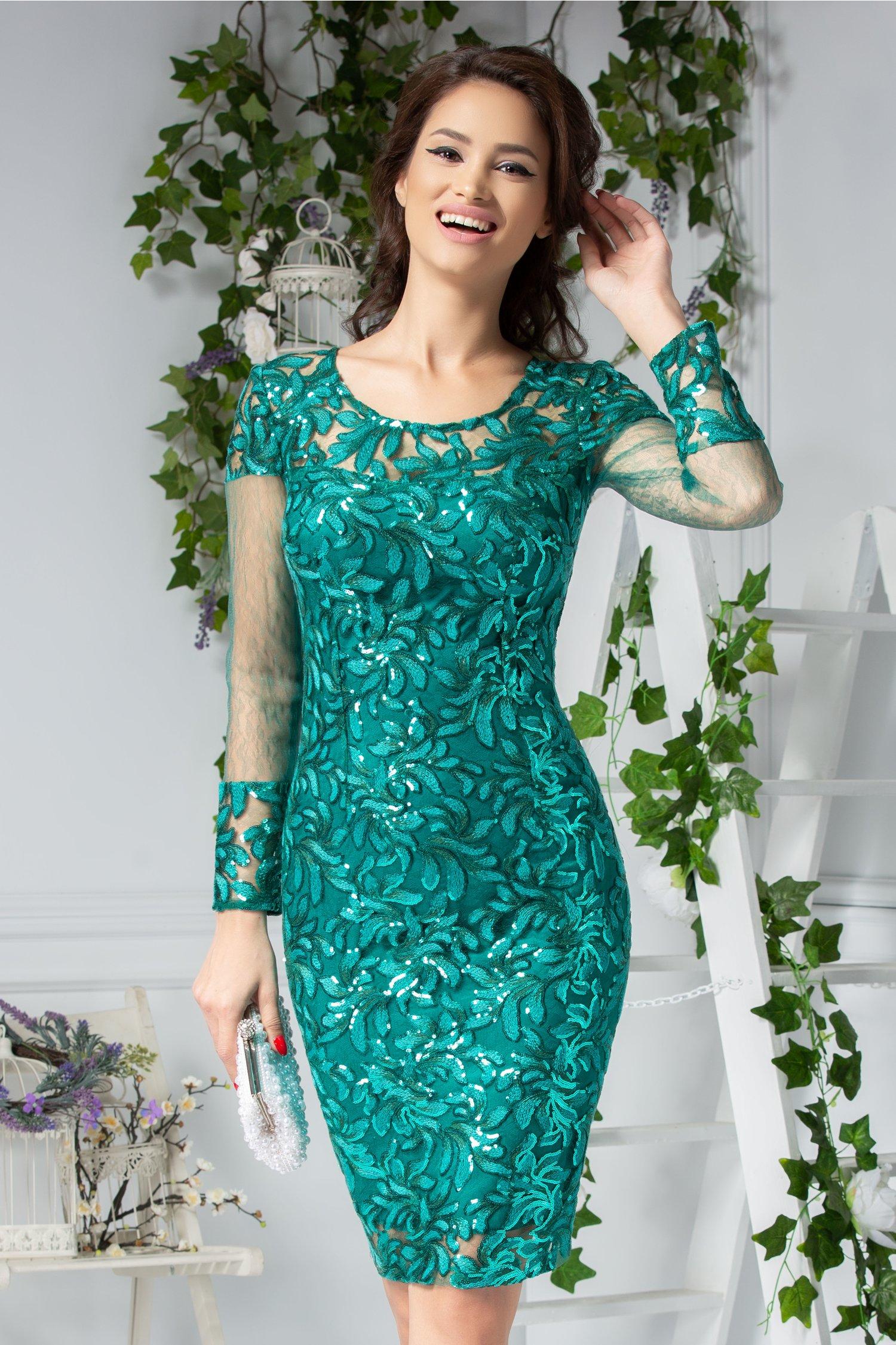 Rochie Moze Brodie conica verde cu paiete