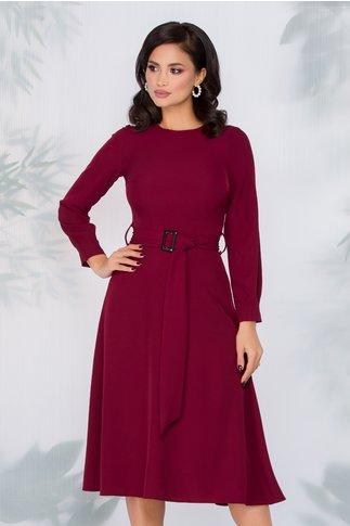 Rochie Moze burgundy cu cordon in talie