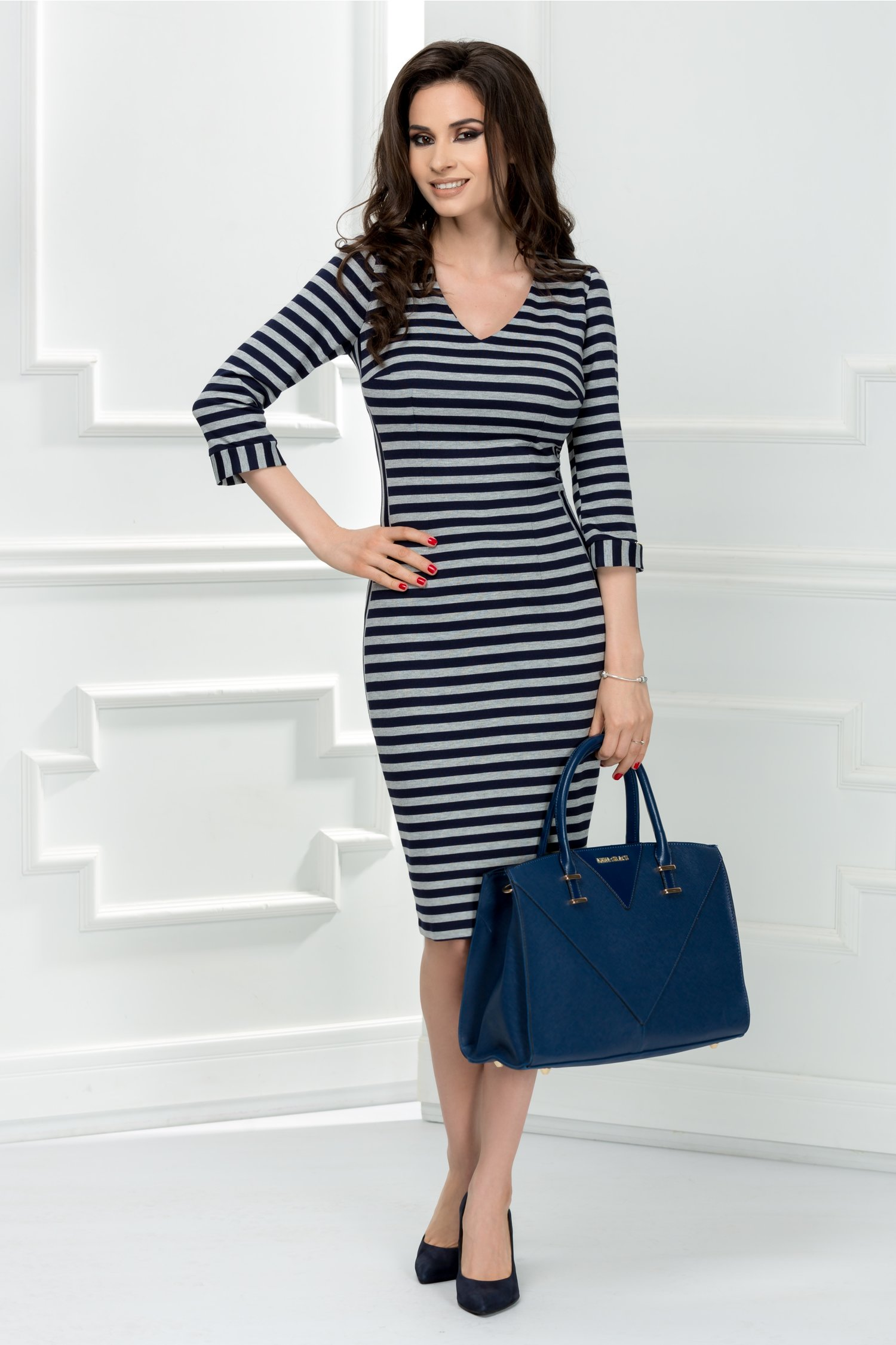 Rochie Moze casual office bleumarin in dungi