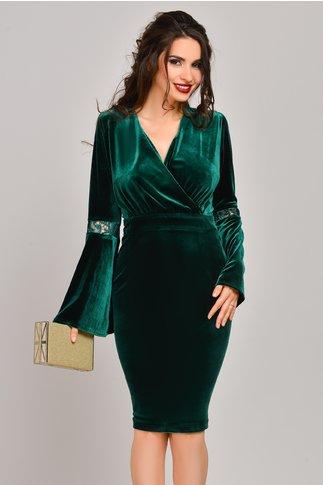 Rochie Moze Cerise verde din catifea conica de ocazie