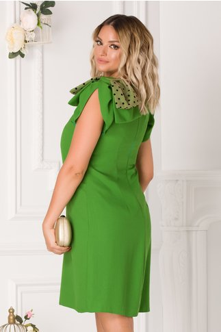 Rochie Moze clopot verde cu funda dubla