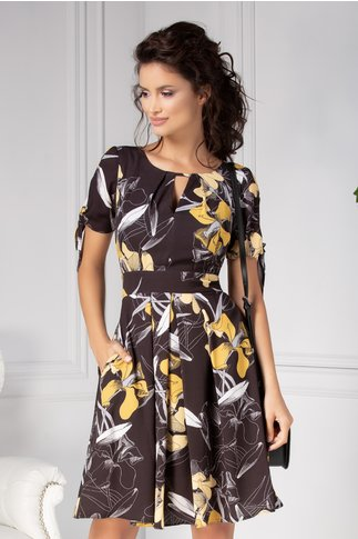 Rochie Moze clos neagra cu imprimeu floral galben