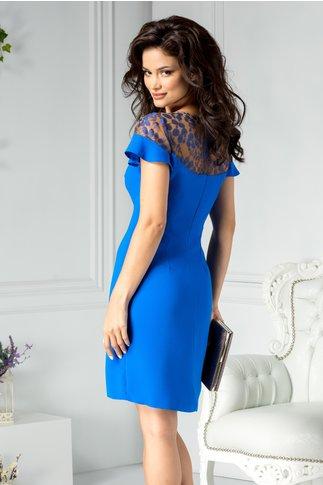 Rochie Moze cocktail albastru cu broderie la bust