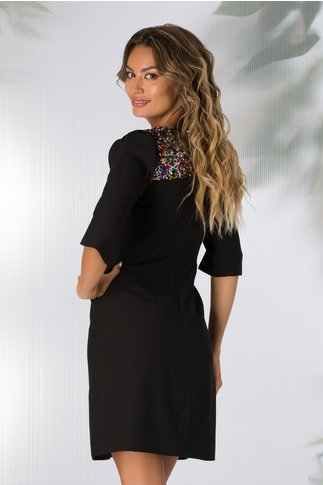 Rochie Moze cocktail neagra cu paiete colorate la decolteu