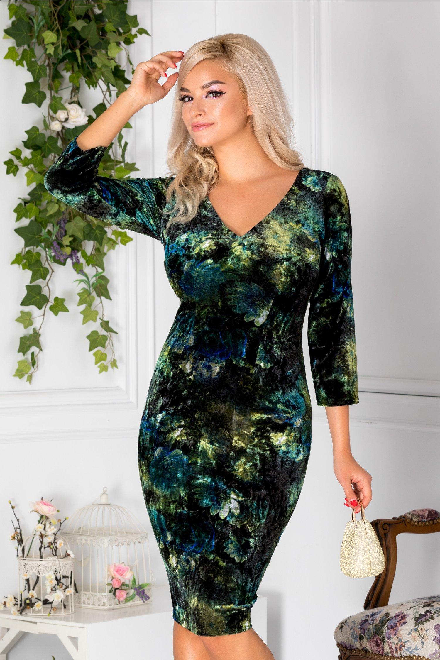 Rochie Moze conica din catifea cu imprimeu verde