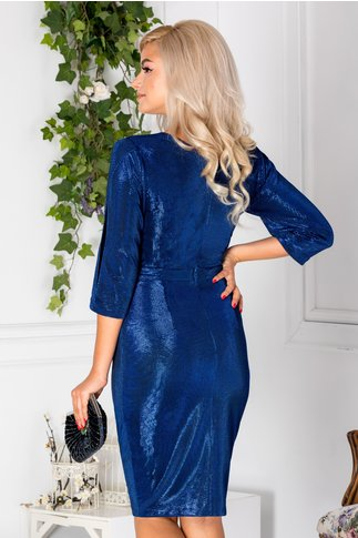 Rochie Moze conica petrecuta albastra cu reflexe