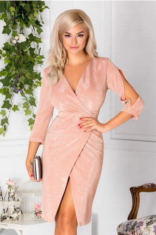 Rochie Moze conica petrecuta roz prafuit cu reflexe
