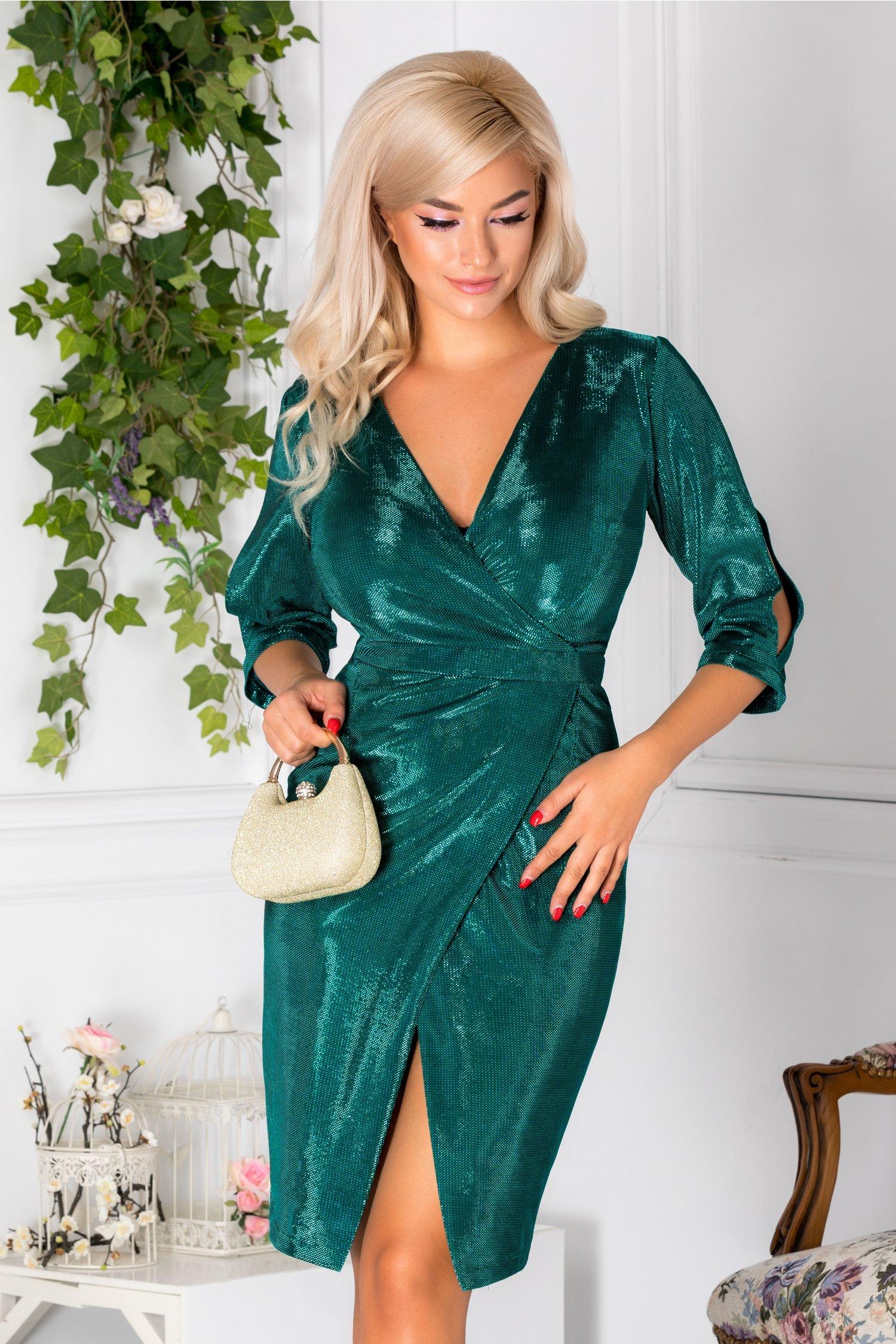 Rochie Moze conica petrecuta verde cu reflexe