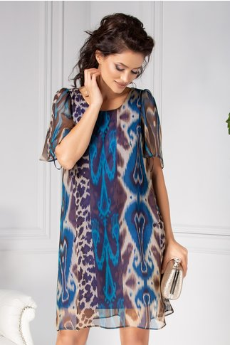 Rochie Moze cu animal print albastru