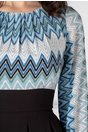 Rochie Moze cu imprimeu albastru in zig-zag la bust si la maneci