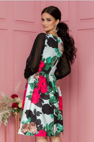 Rochie Moze cu imprimeu floral rosu si pliuri maxi in talie