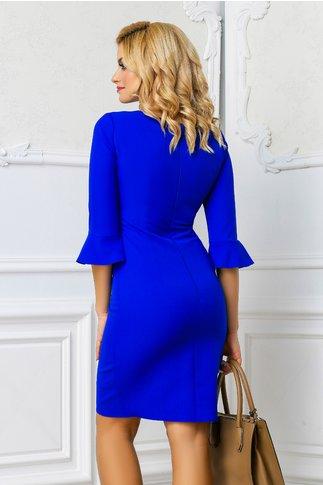 Rochie Moze Dalina albastra office cu fundita