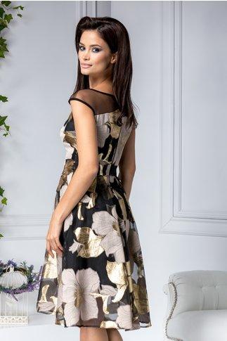 Rochie Moze de ocazie neagra cu imprimeu floral crem-auriu