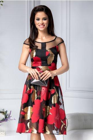 Rochie Moze de ocazie neagra cu imprimeu floral rosu- auriu