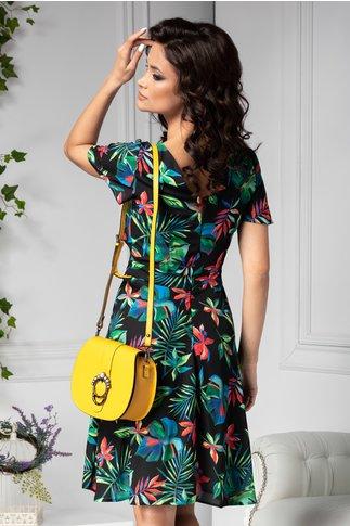 Rochie Moze de vara neagra cu print tropical