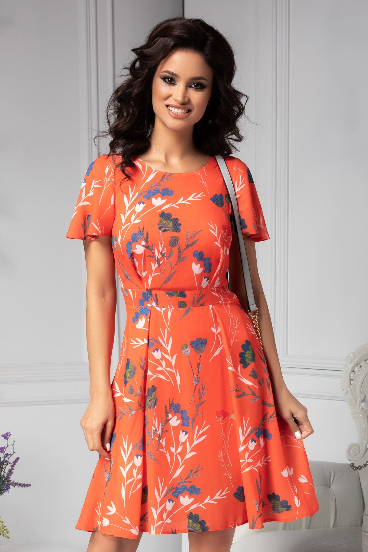 Rochie Moze de vara orange cu print floral