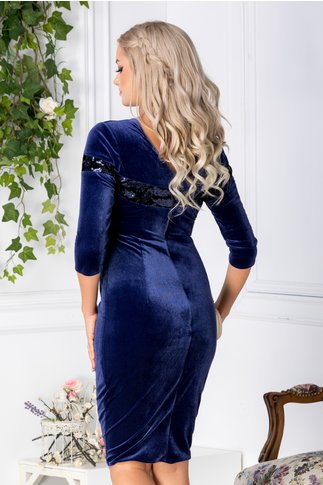 Rochie Moze din catifea albastra cu paiete