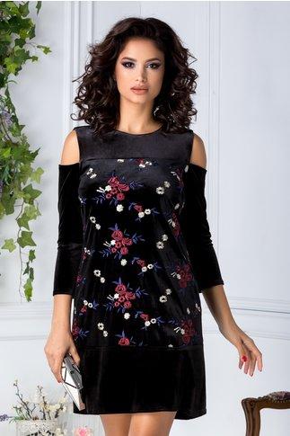 Rochie Moze din catifea neagra cu broderie florala
