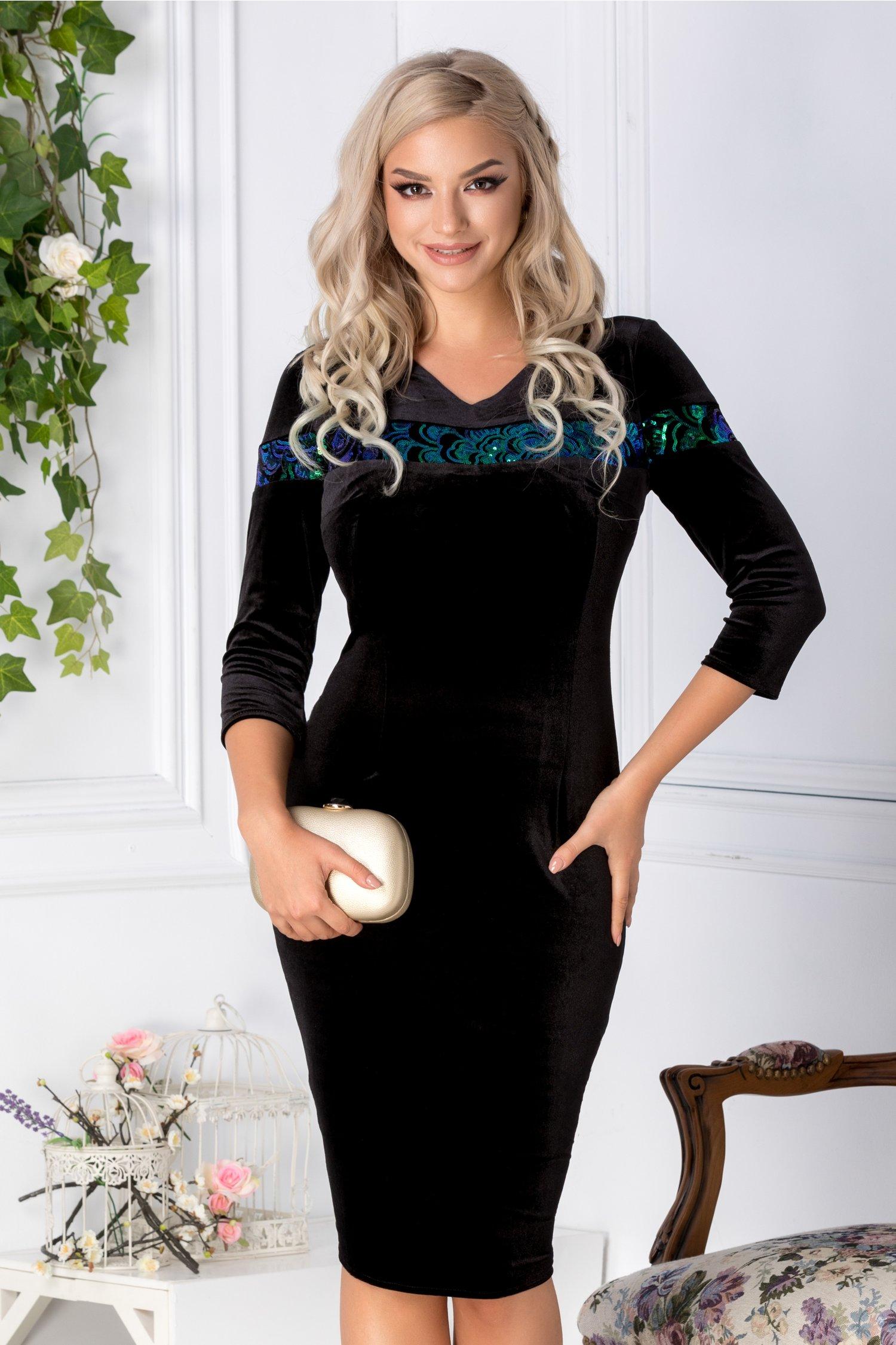 Rochie Moze din catifea neagra cu paiete cu reflexe