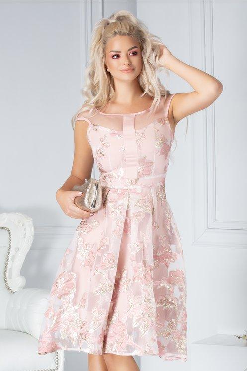 Rochie Moze din organza roz cu detalii roz prafuit