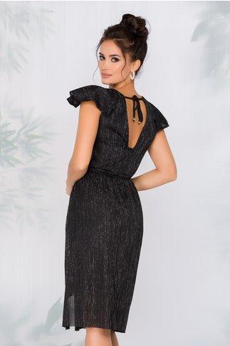Rochie Moze din plise negru cu insertii din fir lurex stralucitor
