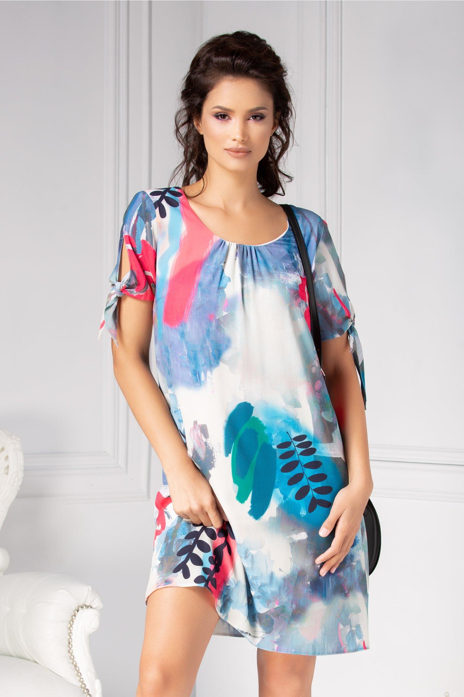 Rochie Moze din voal cu print abstarct multicolor
