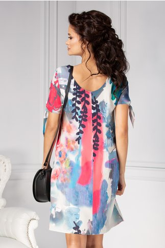 Rochie Moze din voal cu print abstract multicolor