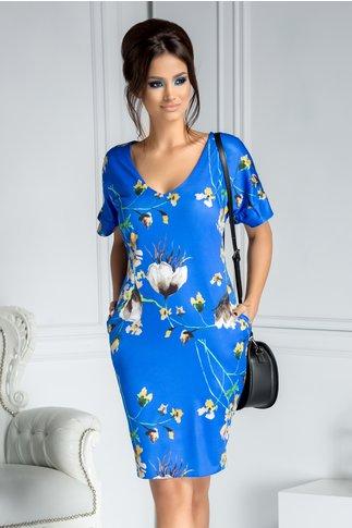 Rochie Moze dreapta albastra cu print floral