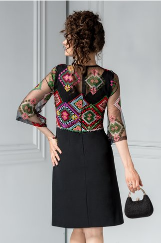 Rochie Moze eleganta neagra clopot brodata