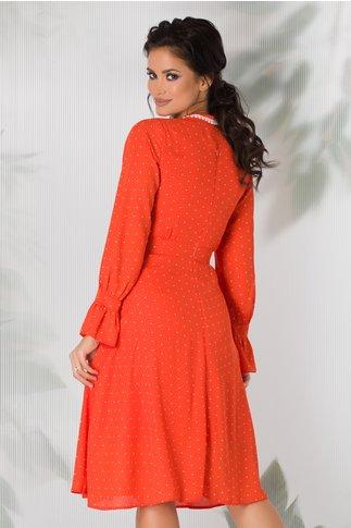 Rochie Moze eleganta orange cu buline
