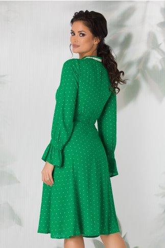 Rochie Moze eleganta verde cu buline