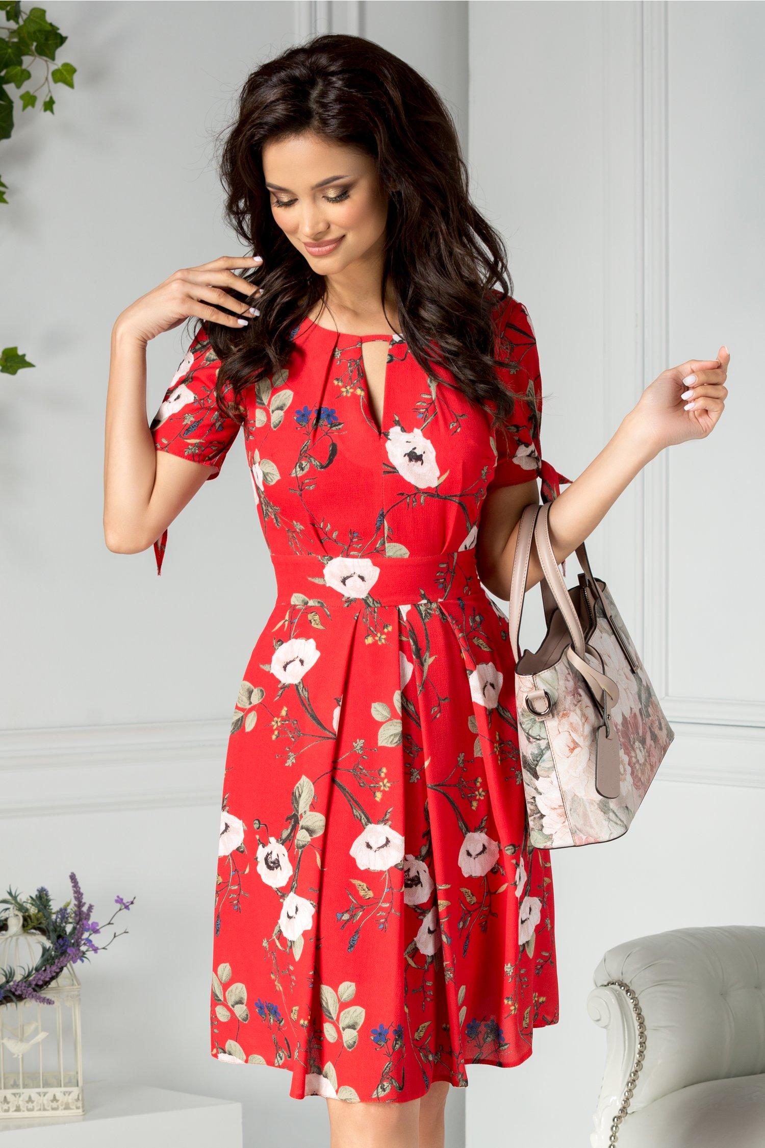 Rochie Moze Evelinne rosie cu print floral