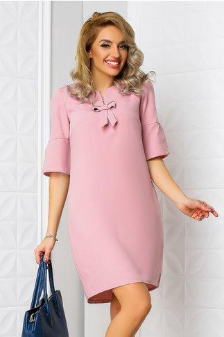 Rochie Moze Flamena roz scurta cu funda croi larg