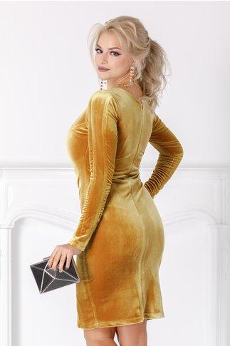 Rochie Moze galben mustar conica din catifea