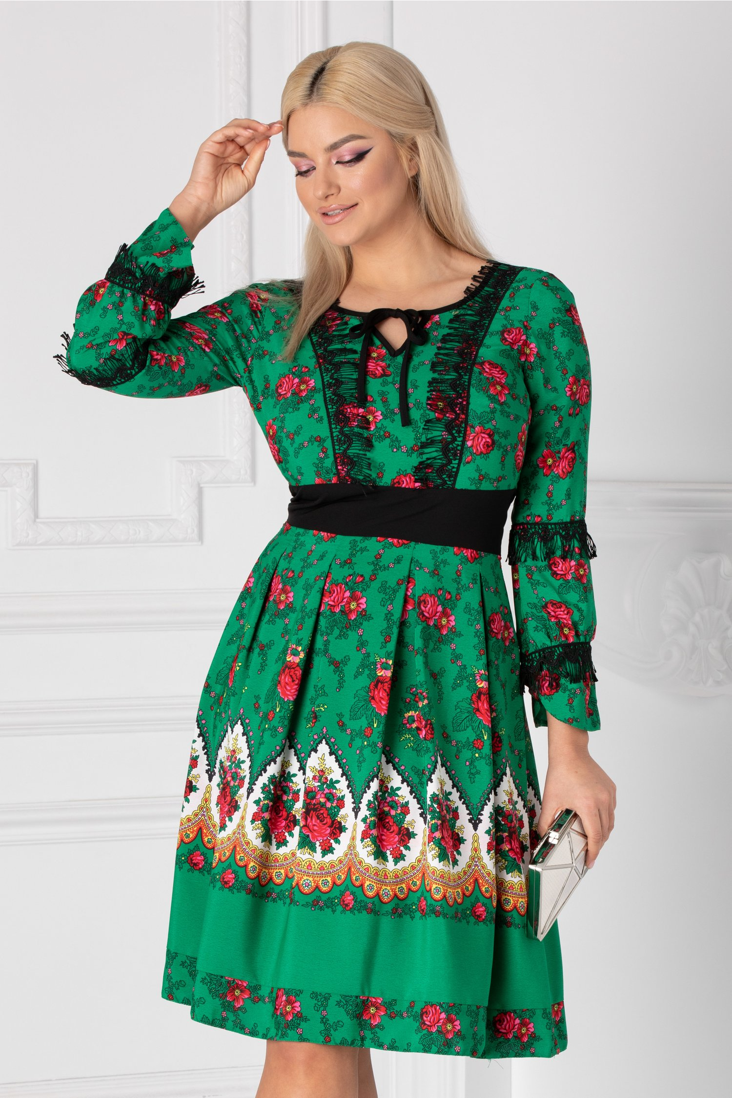 Rochie Moze Gipsy verde cu imprimeu floral
