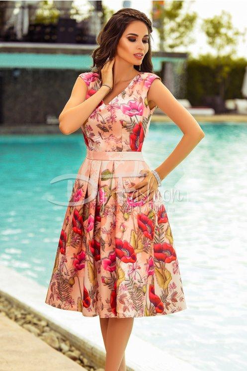 Rochie Moze Giulia Roz Midi Eleganta de Ocazie