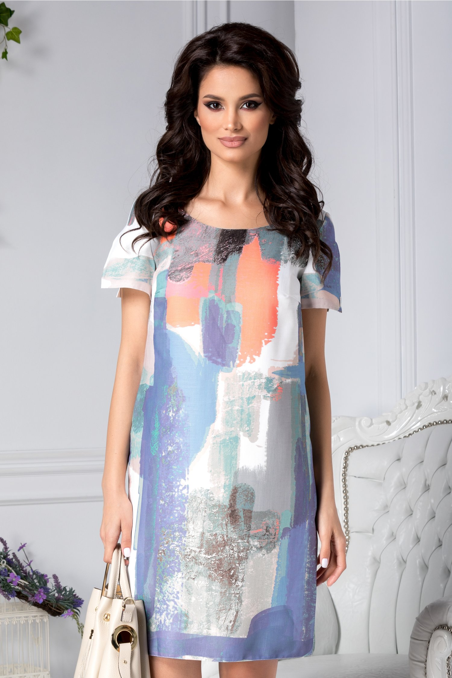 Rochie Moze Gizella casual cu print multicolor