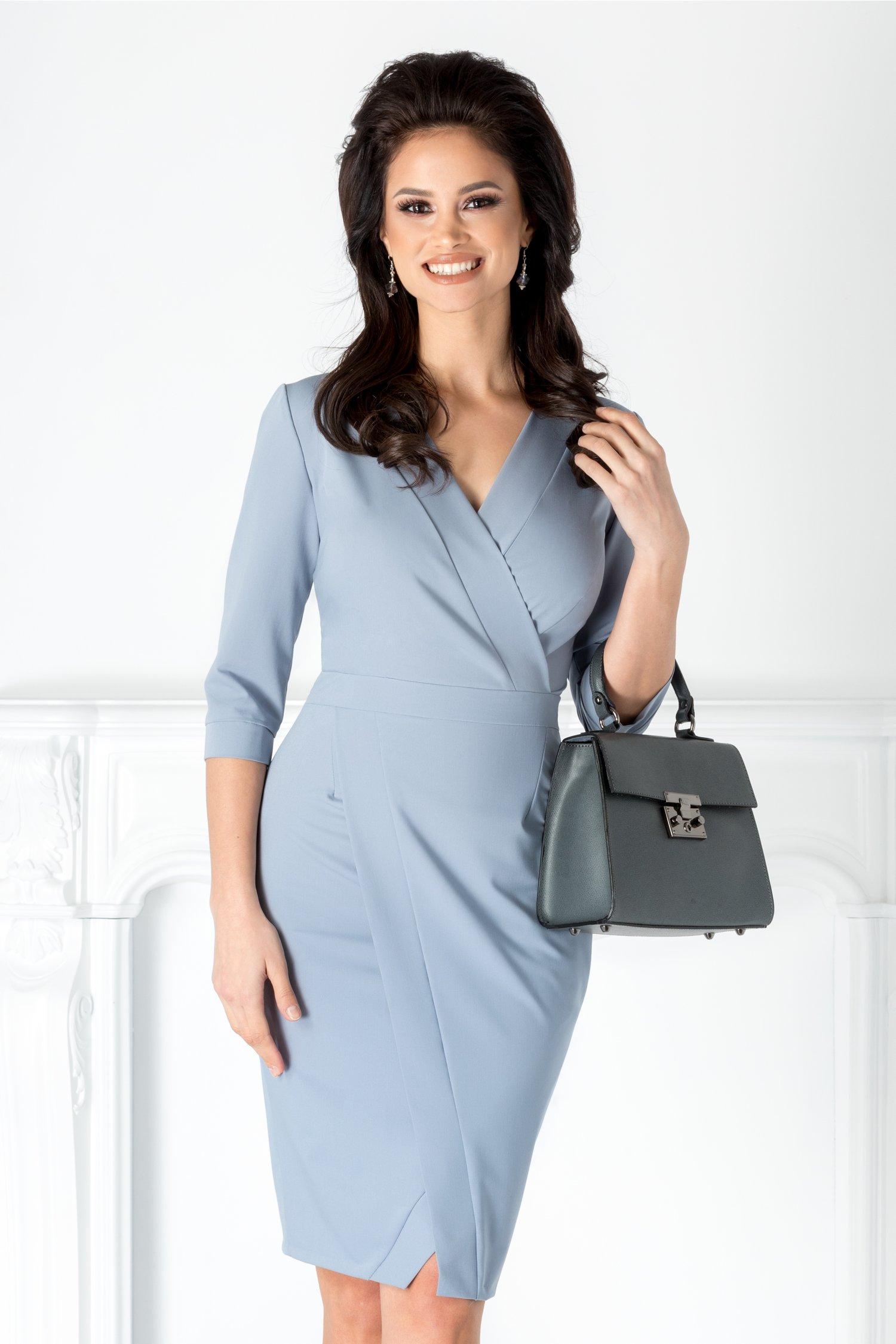 Rochie Moze gri albastru office petrecuta