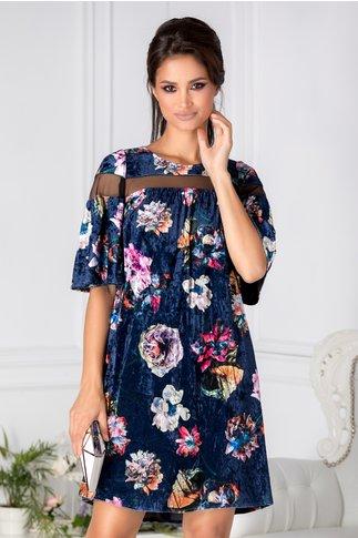 Rochie Moze indigo din catifea cu print floral